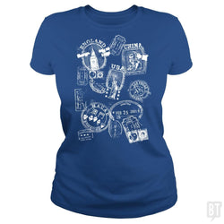 SunFrog-Busted Funky Hippo Classic Ladies Tee / Royal Blue / S Stamped