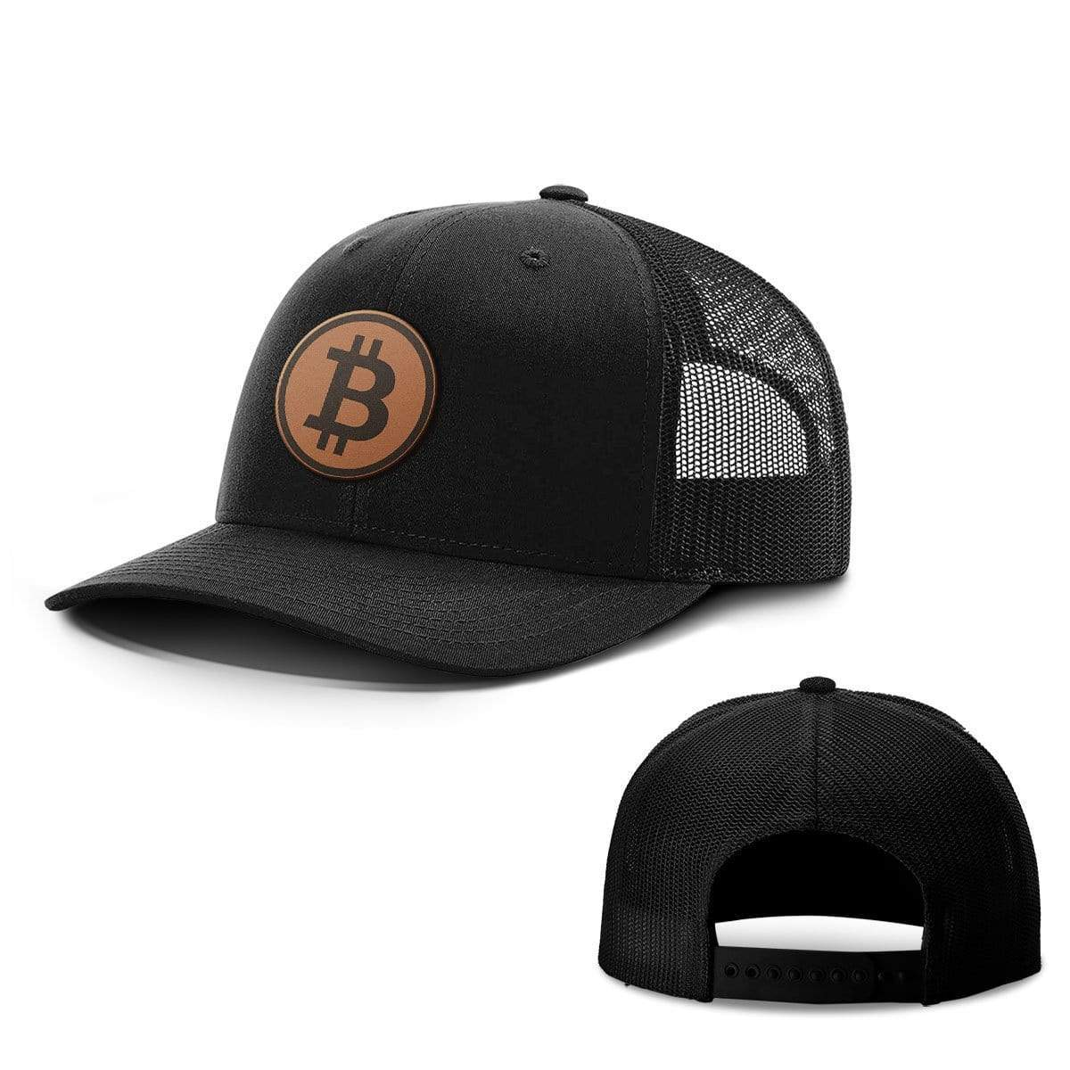 SunFrog-Busted Hats Snapback / Full Black / One Size Bitcoin Leather Patch Hats