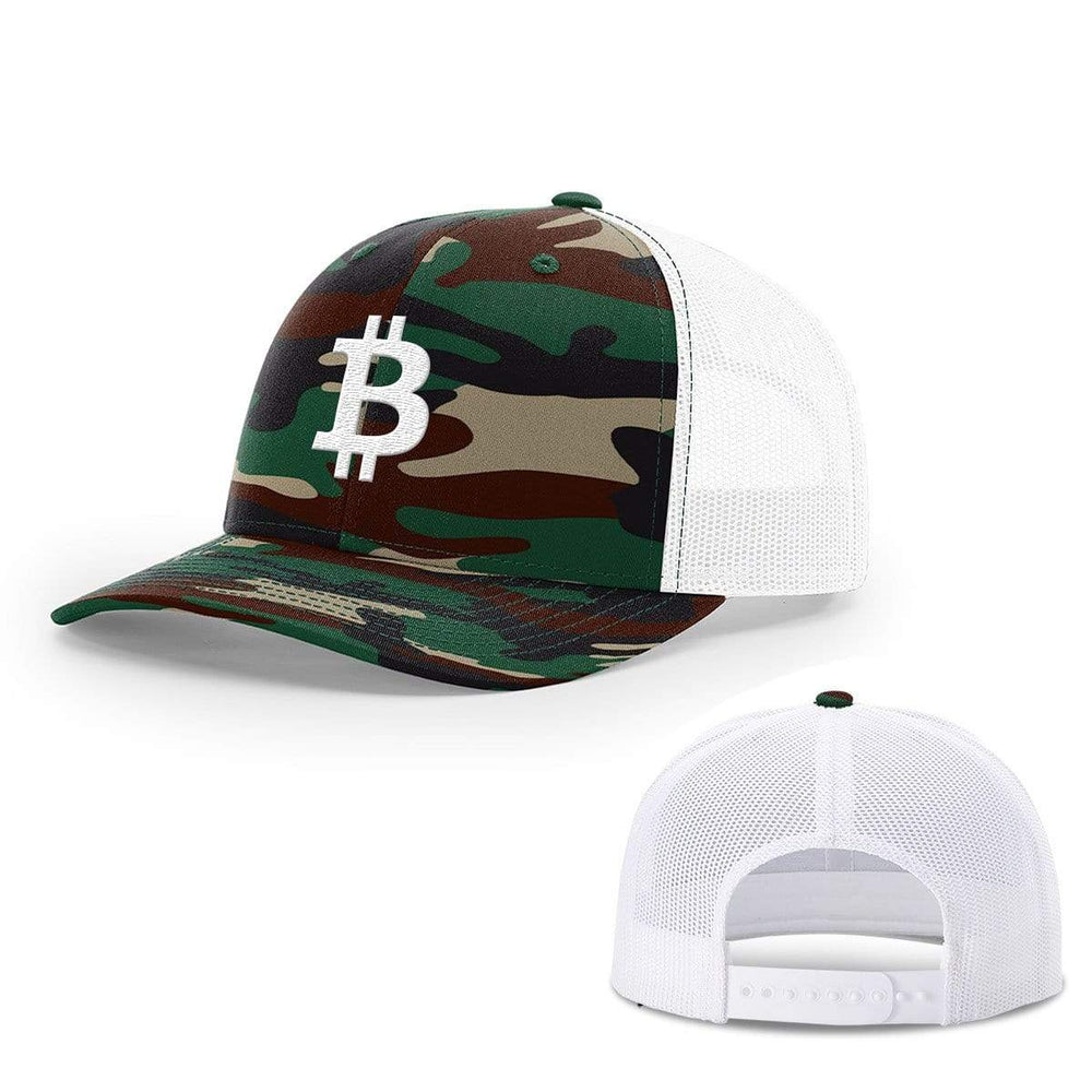 SunFrog-Busted Hats Snapback / Green Camo and White / One Size Bitcoin Logo Hats