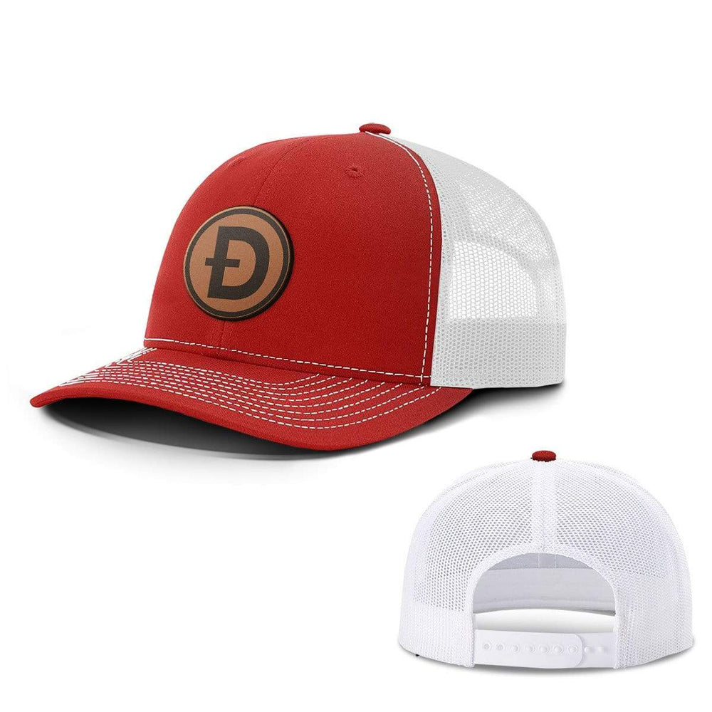 SunFrog-Busted Hats Snapback / Red And White / One Size Dogecoin Leather Patch Hats