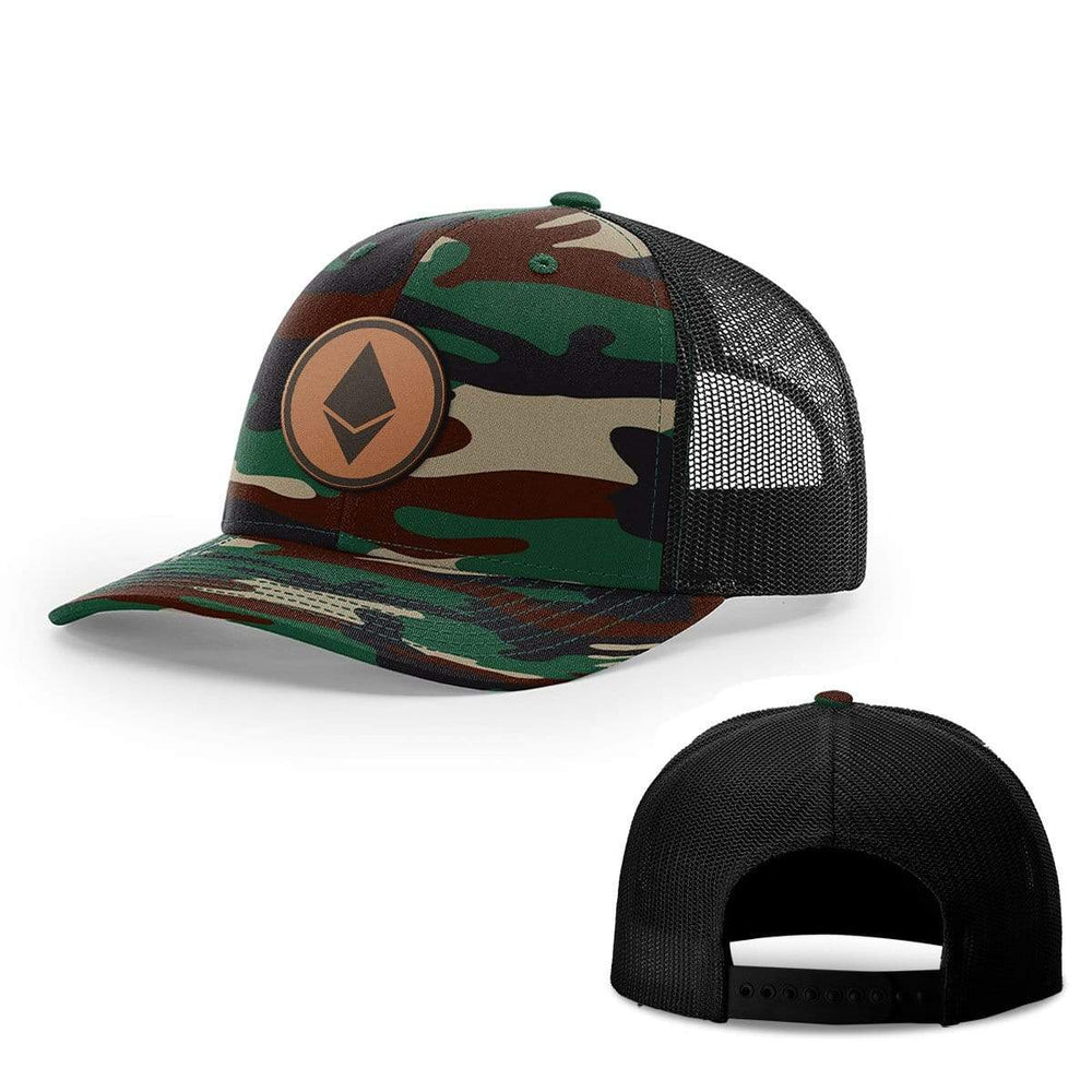 SunFrog-Busted Hats Snapback / Green Camo and Black / One Size Etheruem Leather Patch Hats
