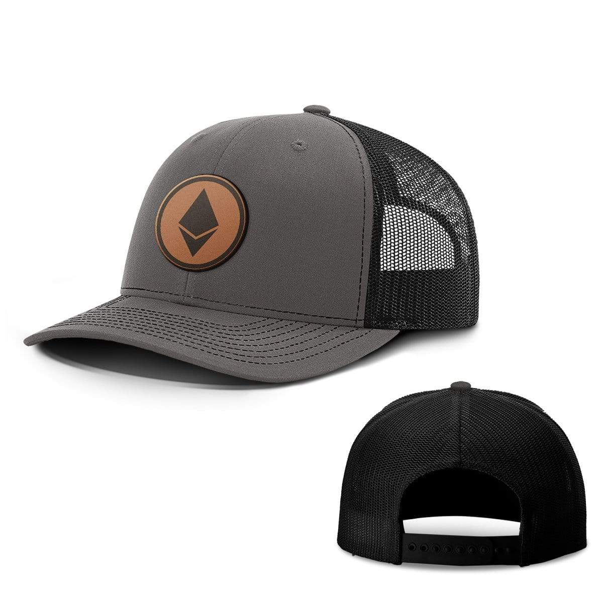 SunFrog-Busted Hats Snapback / Charcoal and Black / One Size Etheruem Leather Patch Hats