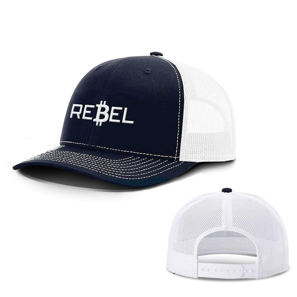 SunFrog-Busted Hats Snapback / Navy and White / One Size Rebel Bitcoin Hats