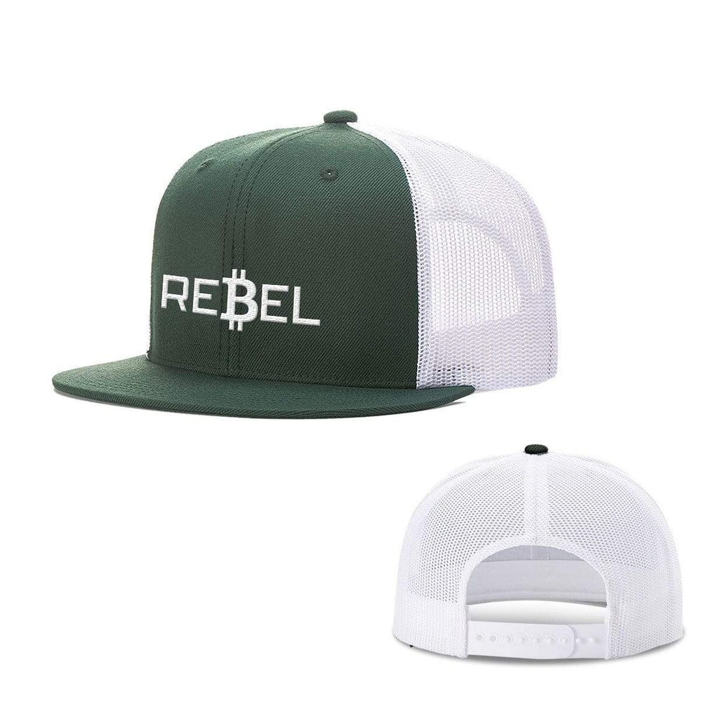 SunFrog-Busted Hats Snapback Flatbill / Dark Green and White / One Size Rebel Bitcoin Hats