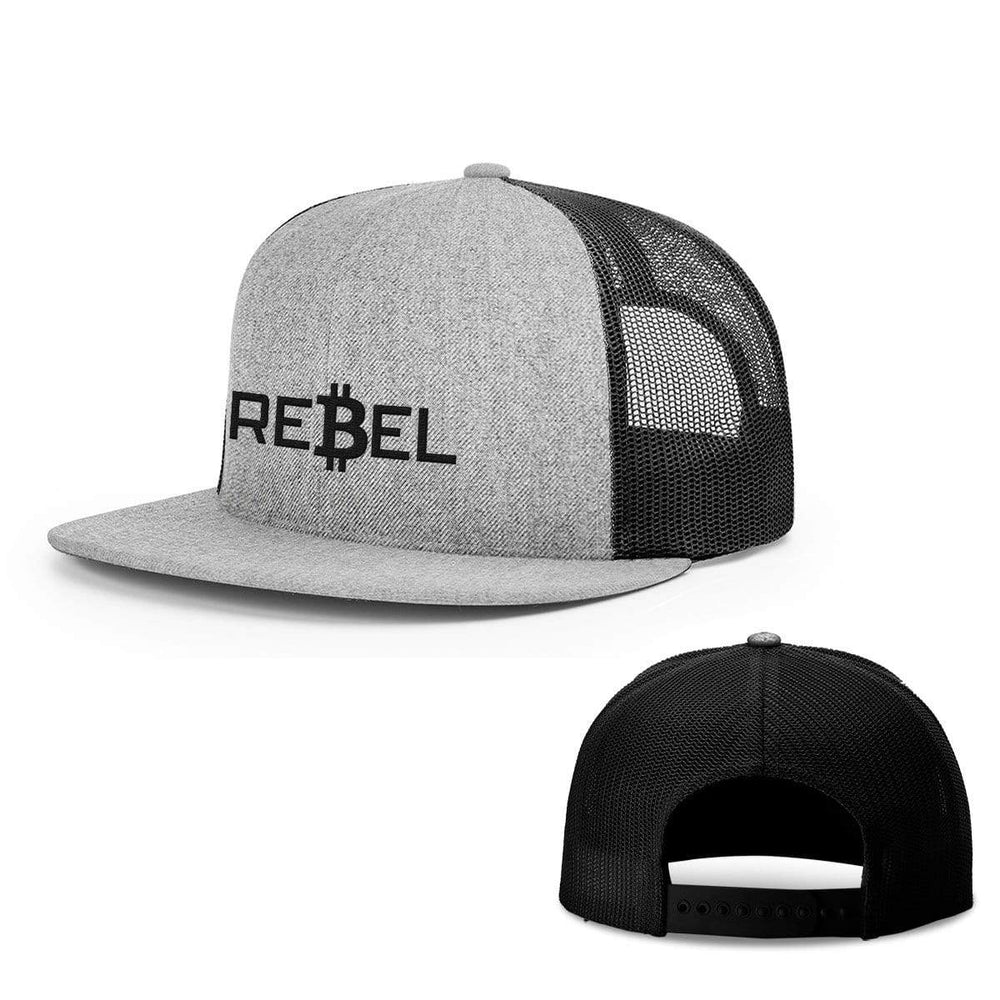 SunFrog-Busted Hats Snapback Flatbill / Heather and Black / One Size Rebel Bitcoin Hats