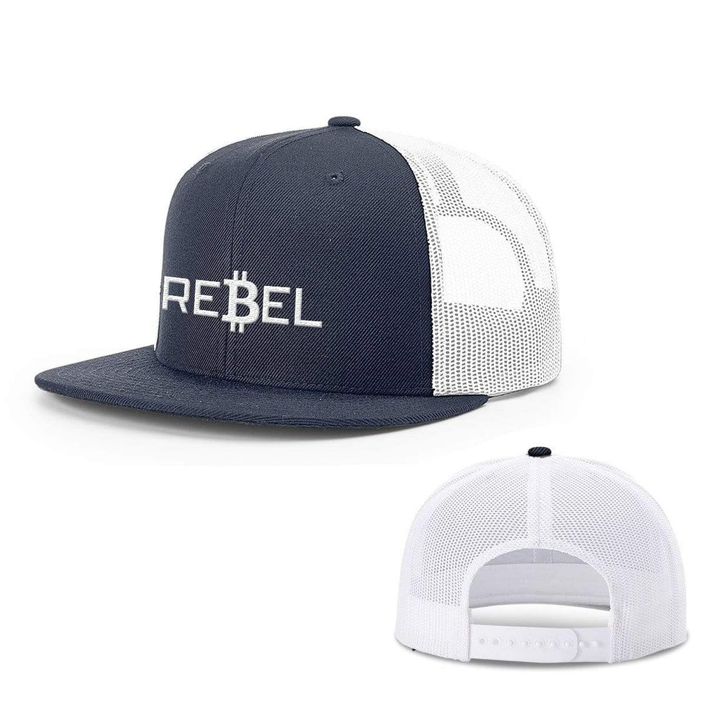SunFrog-Busted Hats Snapback Flatbill / Navy and White / One Size Rebel Bitcoin Hats