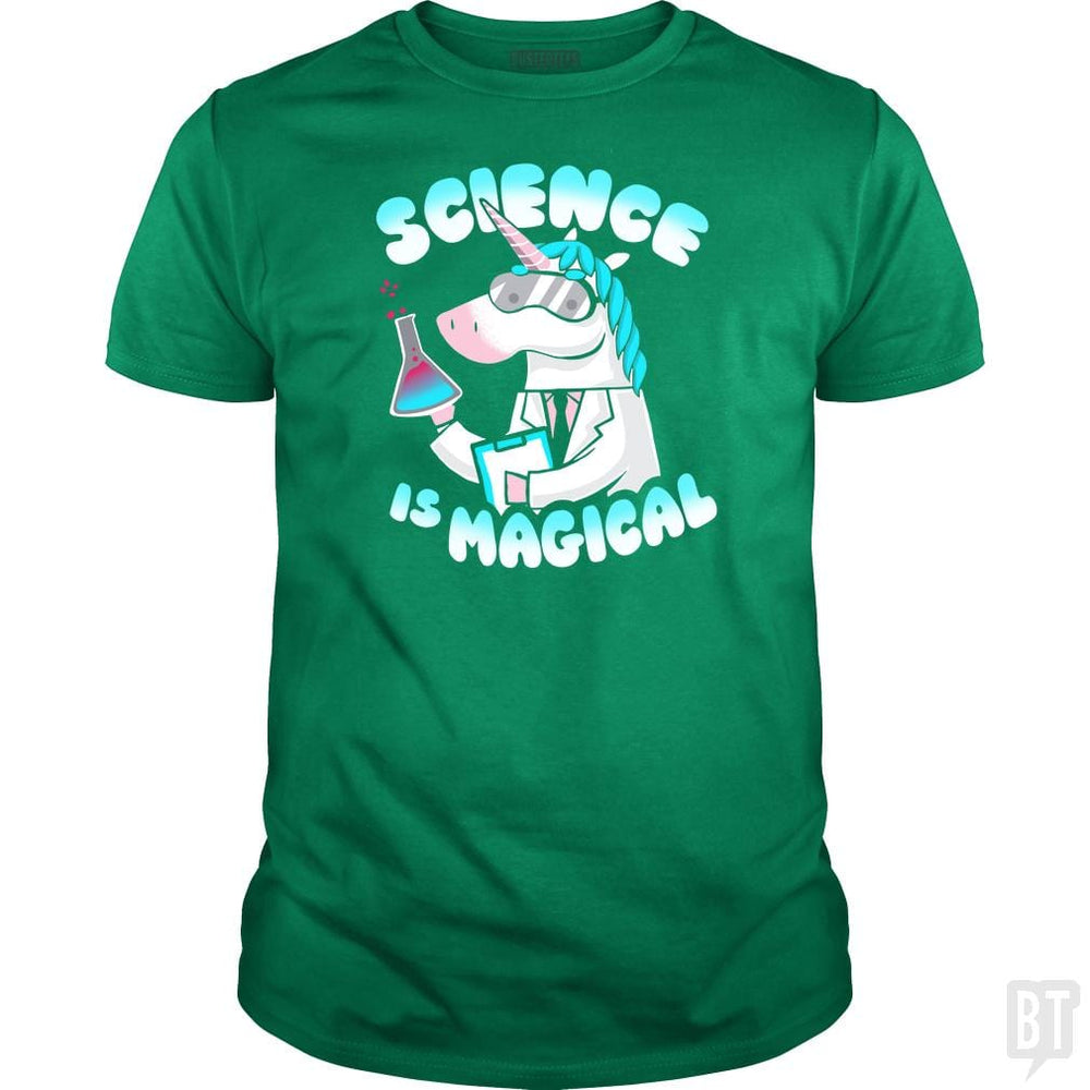 SunFrog-Busted KsuAnn Classic Guys / Unisex Tee / Irish Green / S Science is magical Unicorn