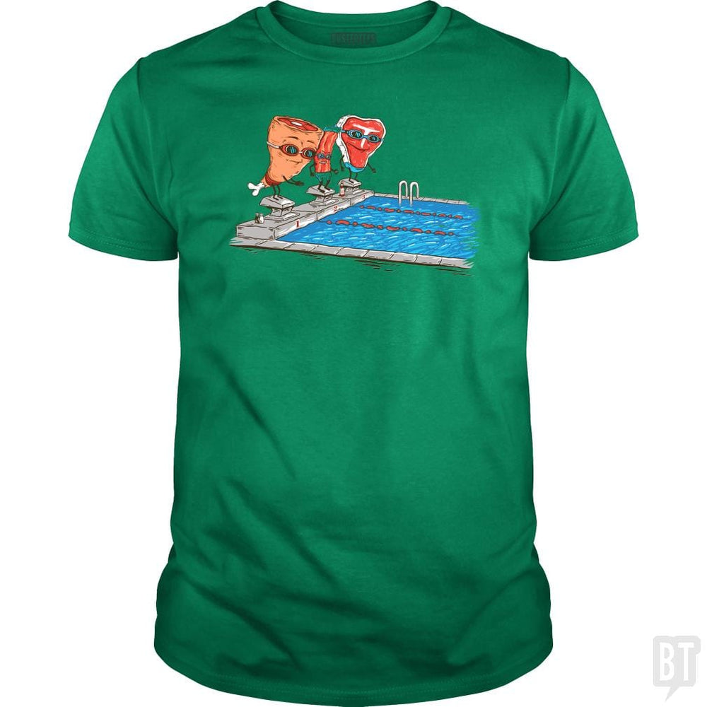 SunFrog-Busted Made With Awesome Classic Guys / Unisex Tee / Irish Green / S Swim Meat