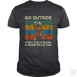 SunFrog-Busted MrT90 Classic Guys / Unisex Tee / Dark Heather / S Go Outside Worst Case Scenario A Bear Kills You