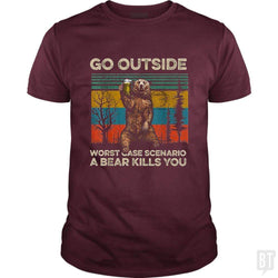 SunFrog-Busted MrT90 Classic Guys / Unisex Tee / Maroon / S Go Outside Worst Case Scenario A Bear Kills You
