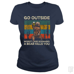 SunFrog-Busted MrT90 Classic Ladies Tee / Navy Blue / S Go Outside Worst Case Scenario A Bear Kills You