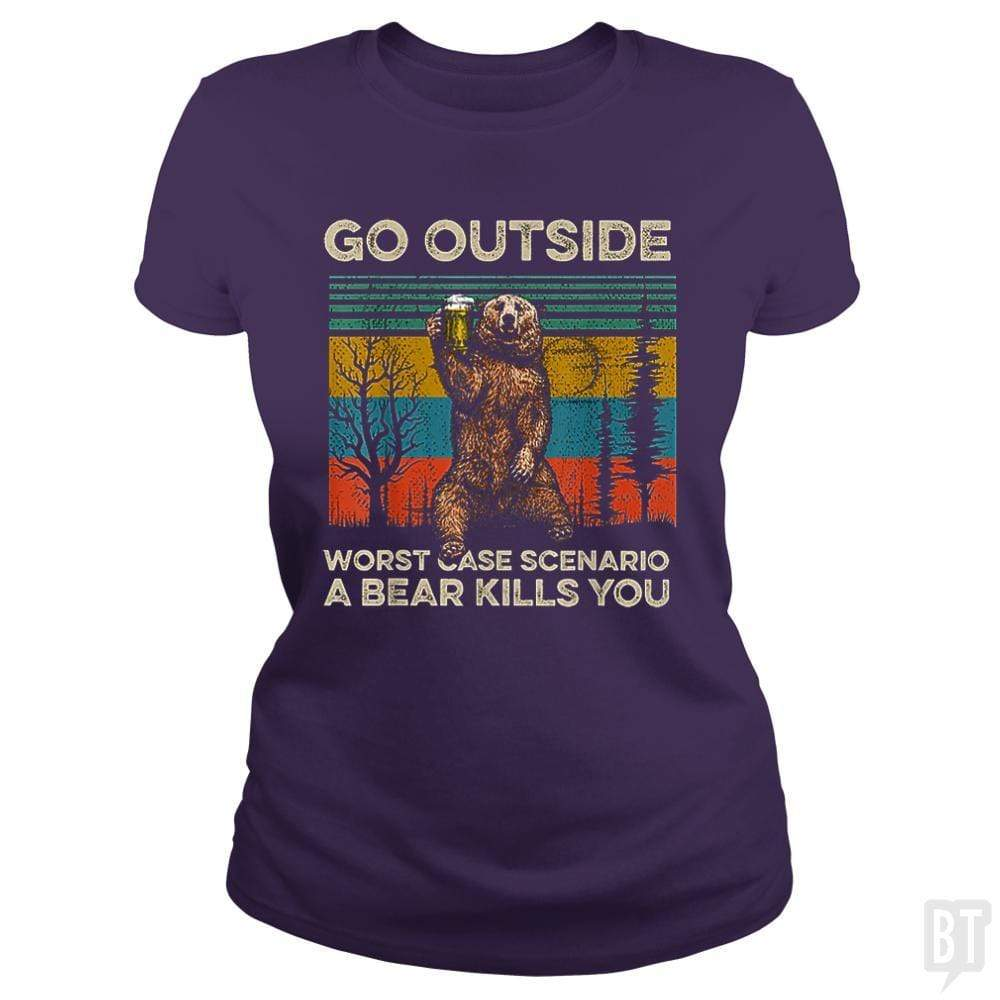 SunFrog-Busted MrT90 Classic Ladies Tee / Purple / S Go Outside Worst Case Scenario A Bear Kills You