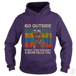 SunFrog-Busted MrT90 Hoodie / Purple / S Go Outside Worst Case Scenario A Bear Kills You