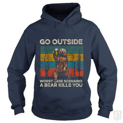 SunFrog-Busted MrT90 Hoodie / Navy Blue / S Go Outside Worst Case Scenario A Bear Kills You