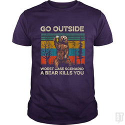 SunFrog-Busted MrT90 Classic Guys / Unisex Tee / Purple / S Go Outside Worst Case Scenario A Bear Kills You