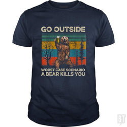 SunFrog-Busted MrT90 Classic Guys / Unisex Tee / Navy Blue / S Go Outside Worst Case Scenario A Bear Kills You