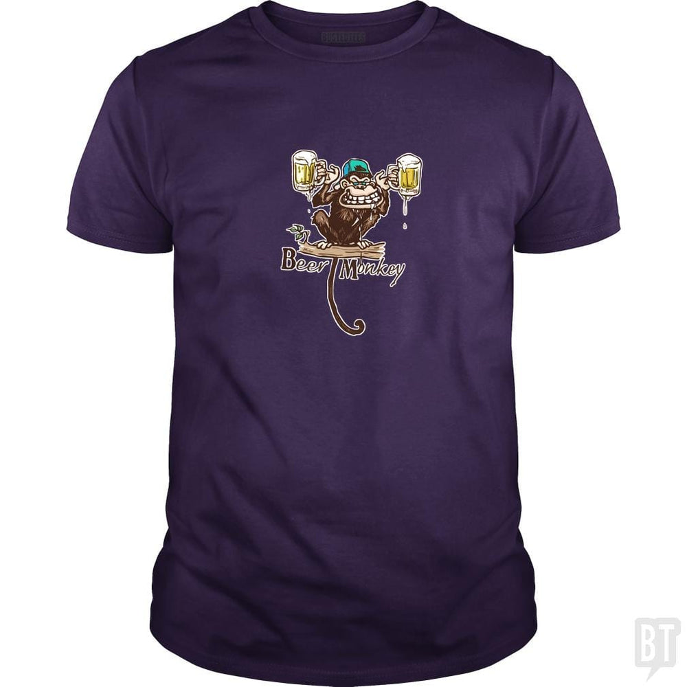 SunFrog-Busted MudgeWare Classic Guys / Unisex Tee / Purple / S Beer Monkey Hoisting Two Pints