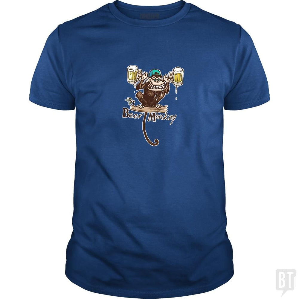 SunFrog-Busted MudgeWare Classic Guys / Unisex Tee / Royal Blue / S Beer Monkey Hoisting Two Pints