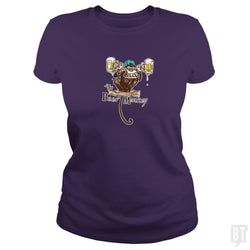 SunFrog-Busted MudgeWare Classic Ladies Tee / Purple / S Beer Monkey Hoisting Two Pints