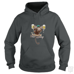 SunFrog-Busted MudgeWare Hoodie / Dark Heather / S Beer Monkey Hoisting Two Pints