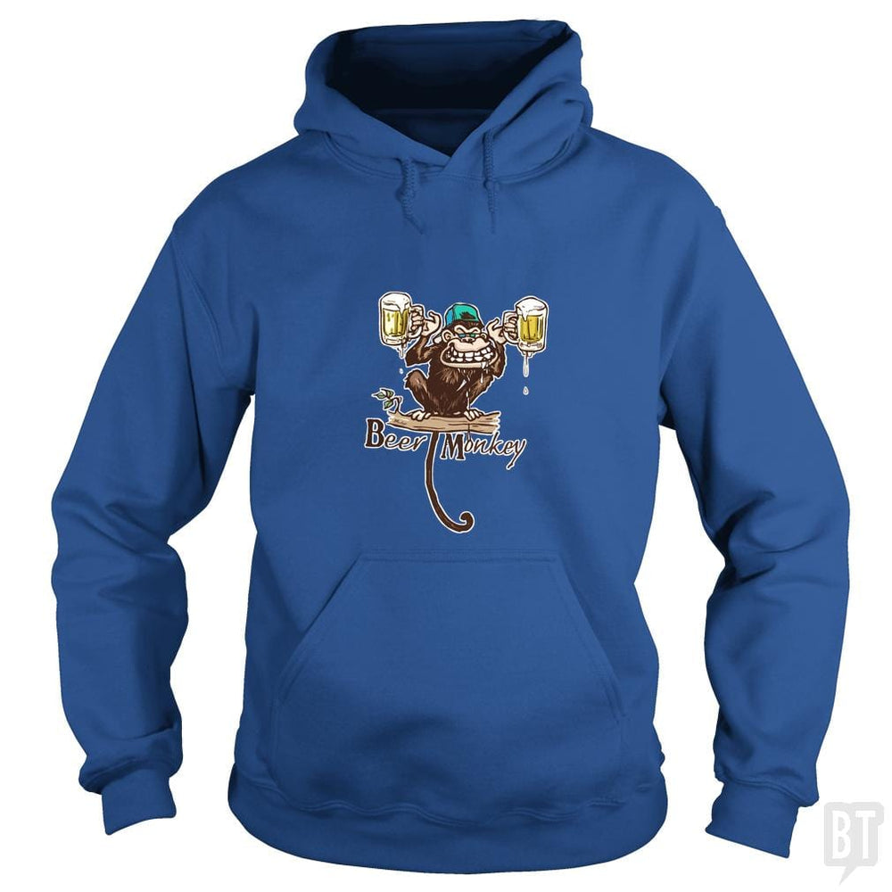 SunFrog-Busted MudgeWare Hoodie / Royal Blue / S Beer Monkey Hoisting Two Pints