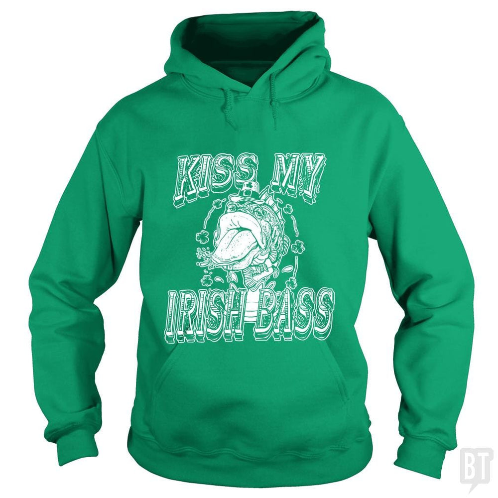 SunFrog-Busted MudgeWare Hoodie / Irish Green / S Kiss My Irish Bass W