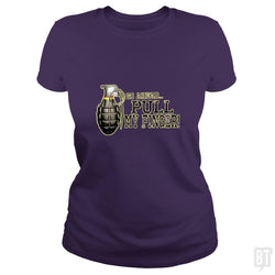 SunFrog-Busted MudgeWare Classic Ladies Tee / Purple / S Pull My Finger