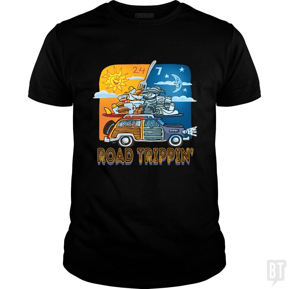 SunFrog-Busted MudgeWare Classic Guys / Unisex Tee / Black / S Road Tripping 24 7