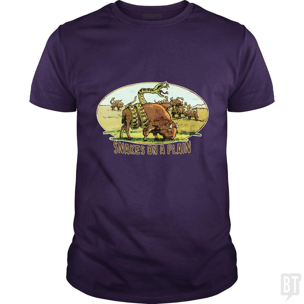 SunFrog-Busted MudgeWare Classic Guys / Unisex Tee / Purple / S Save Snakes on a Plain
