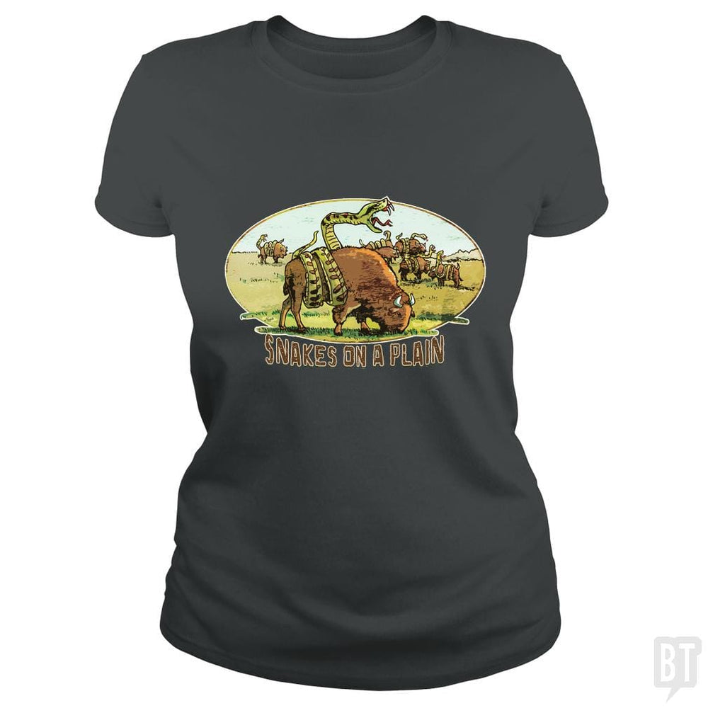 SunFrog-Busted MudgeWare Classic Ladies Tee / Dark Heather / S Save Snakes on a Plain