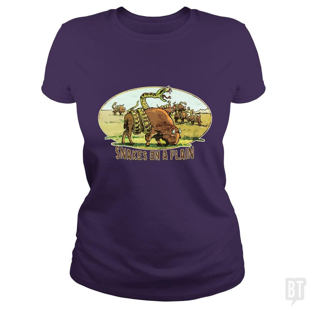 SunFrog-Busted MudgeWare Classic Ladies Tee / Purple / S Save Snakes on a Plain