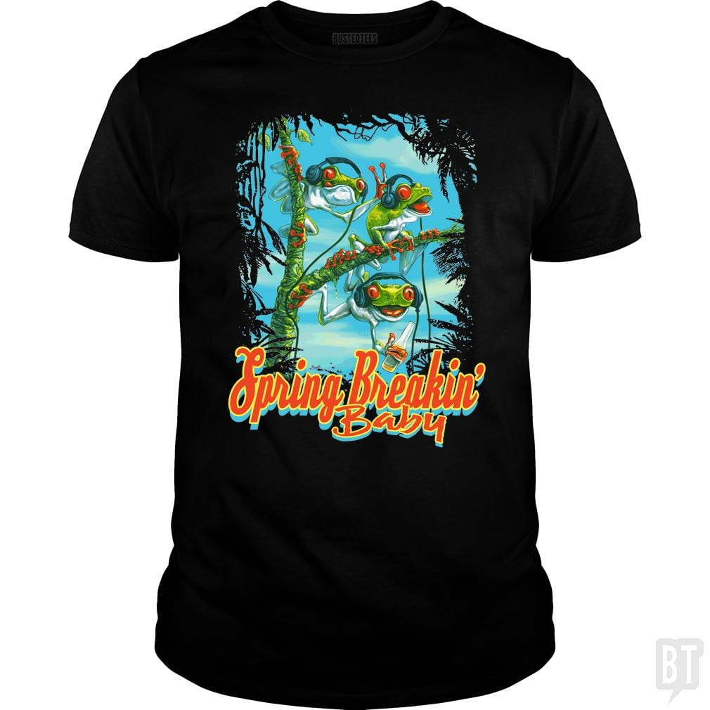 SunFrog-Busted MudgeWare Classic Guys / Unisex Tee / Black / S Spring Break Frog Trio
