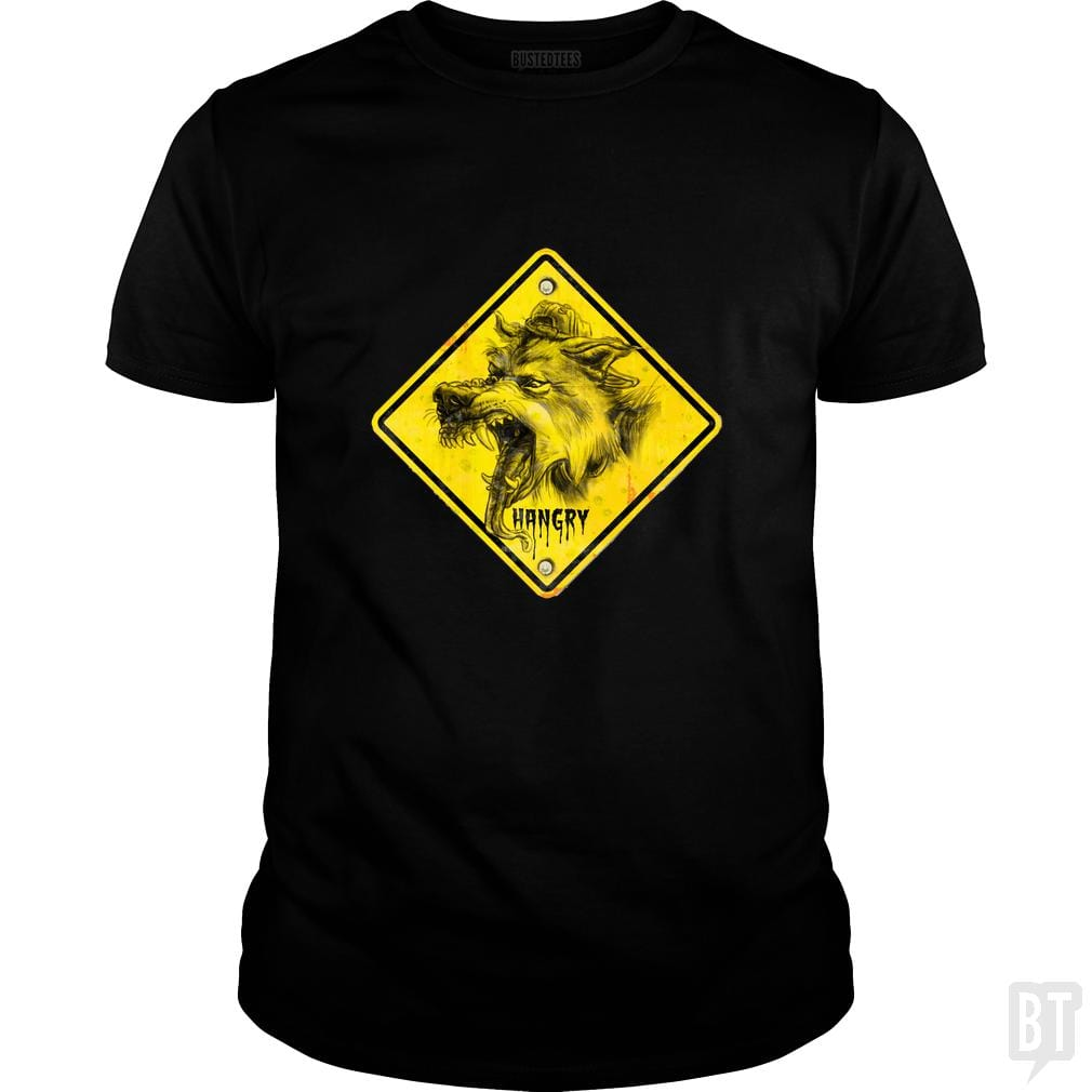SunFrog-Busted MudgeWare Classic Guys / Unisex Tee / Black / S Warning Hangry Wolf