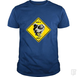 SunFrog-Busted MudgeWare Classic Guys / Unisex Tee / Royal Blue / S Warning Hug A Bull