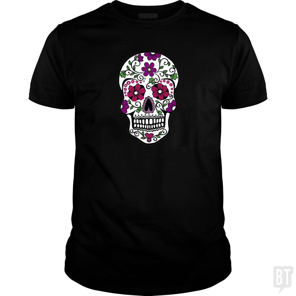 SunFrog-Busted SuperPizzaAwesome2000 Classic Guys / Unisex Tee / Black / S Day of the Dead Skull