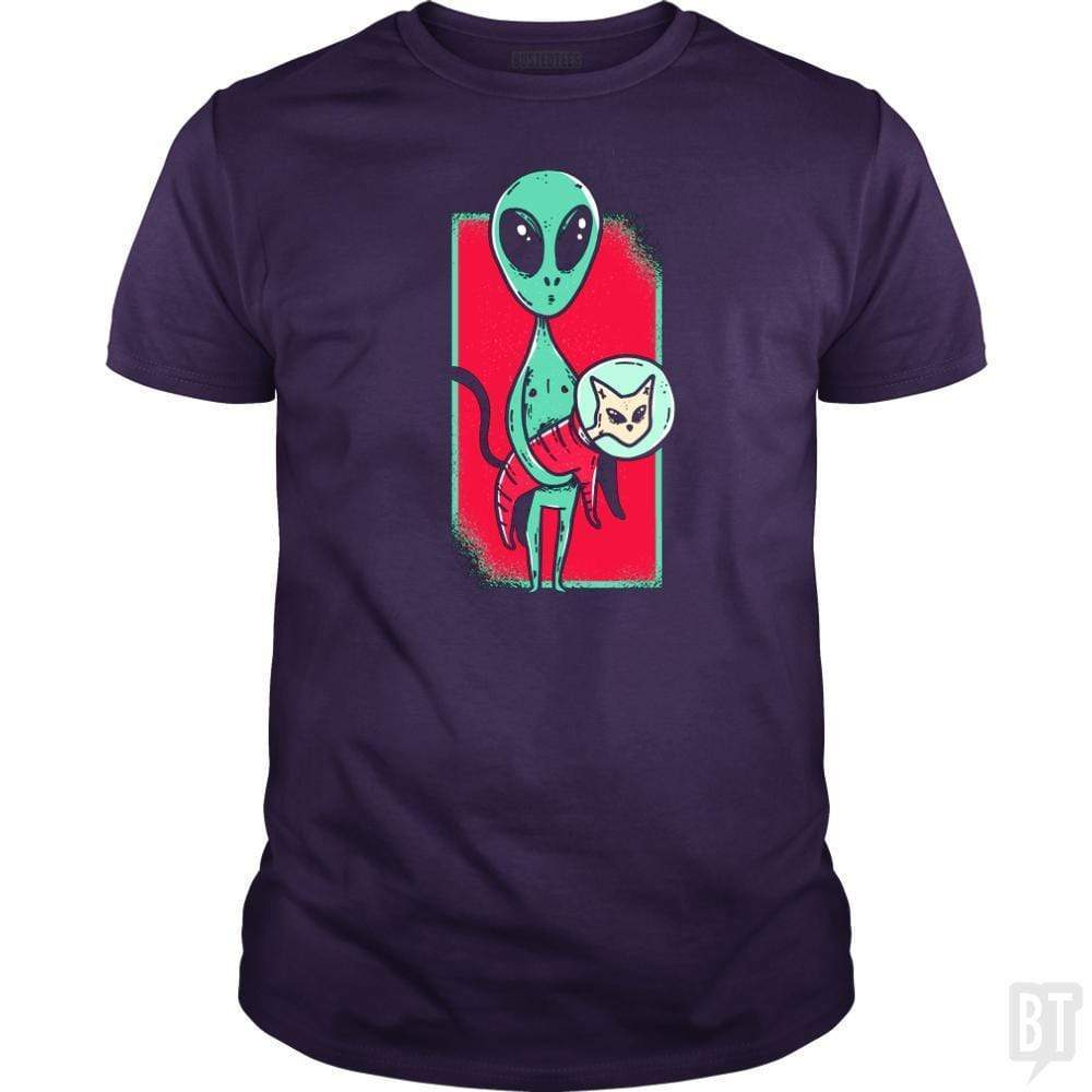 SunFrog-Busted TEE ART LAB Classic Guys / Unisex Tee / Purple / S Alien With Cat