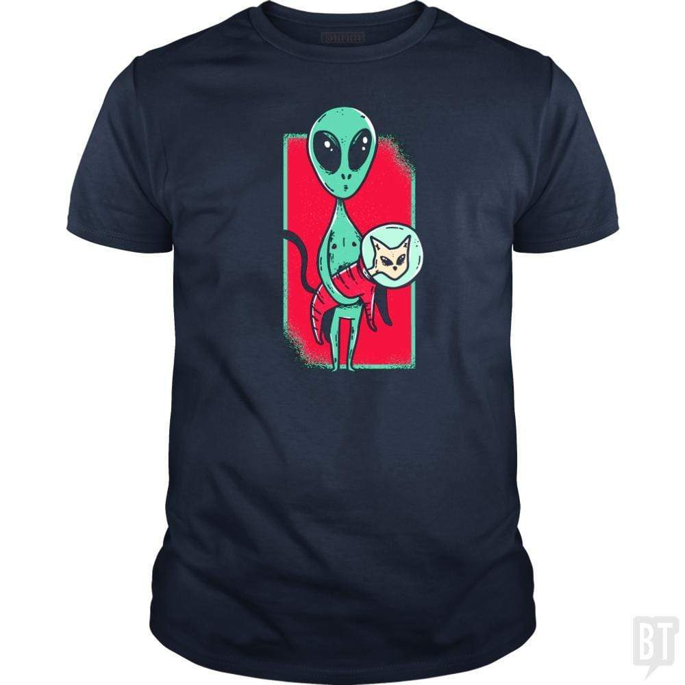 SunFrog-Busted TEE ART LAB Classic Guys / Unisex Tee / Navy Blue / S Funny Alien With Cat