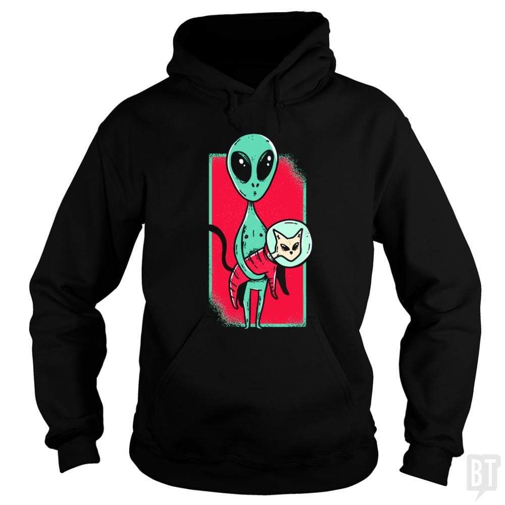 SunFrog-Busted TEE ART LAB Hoodie / Black / S Funny Alien With Cat