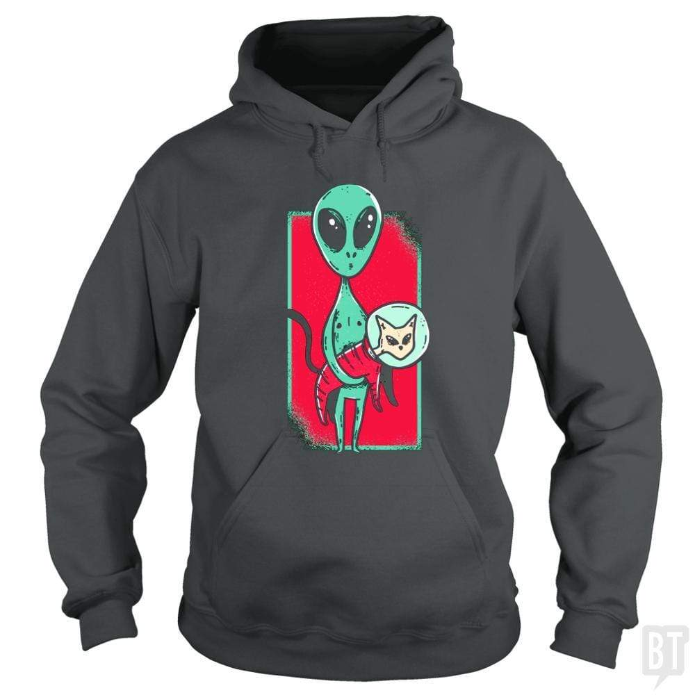 SunFrog-Busted TEE ART LAB Hoodie / Dark Heather / S Funny Alien With Cat