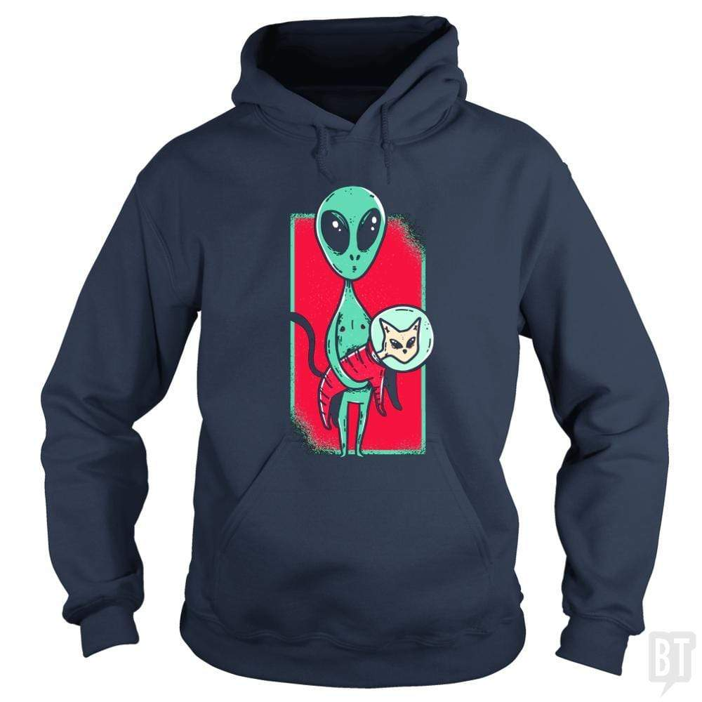 SunFrog-Busted TEE ART LAB Hoodie / Navy Blue / S Funny Alien With Cat