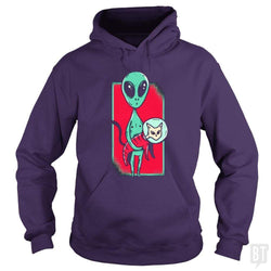 SunFrog-Busted TEE ART LAB Hoodie / Purple / S Funny Alien With Cat