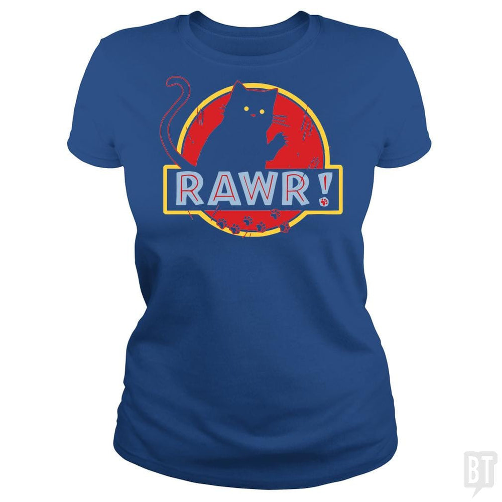 SunFrog-Busted yansdonal189 Classic Ladies Tee / Royal Blue / S Jurassic Cat RAWR