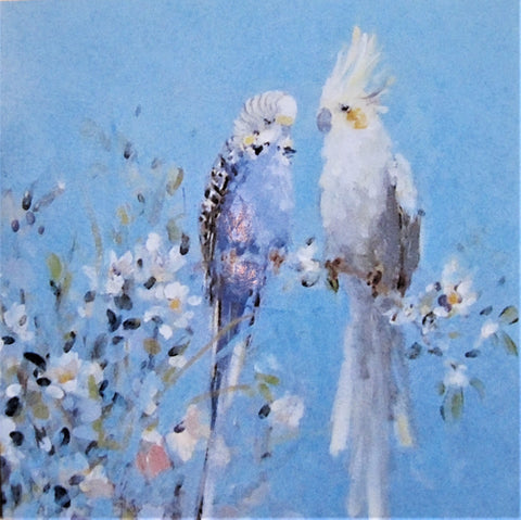 Cockatiel & White Blossom Greeting Card   AG0048