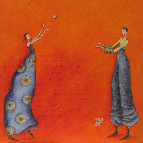 Gaelle Boissonnard Friendship card two blue figures orange background blank inside square