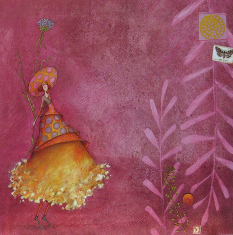 Gaelle Boissonnard friendship card girl in gold orange background ruby blank inside square