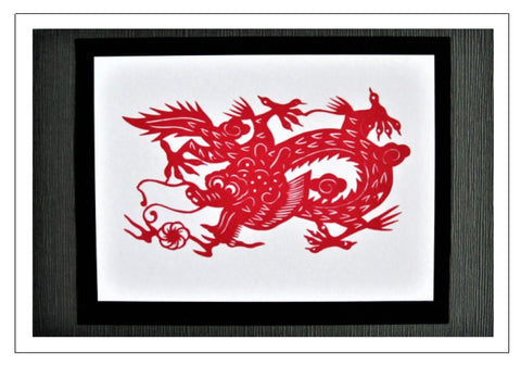 Chinese Papercut Greeting Card w/Envelope - Dragon   CFA10