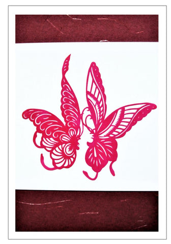 Chinese Papercut Greeting Card w/Envelope - Butterflies   CFA27