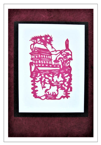 Chinese Papercut Greeting Card w/Envelope - Temple Scene   CFA30