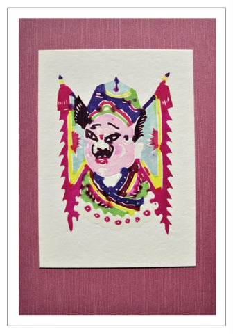 Chinese Papercut Greeting Card w/Envelope - Minature Opera Mask   CFA39