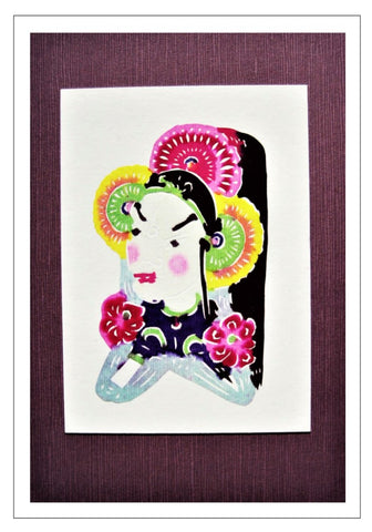 Chinese Papercut Greeting Card w/Envelope - Minature Opera Mask   CFA41